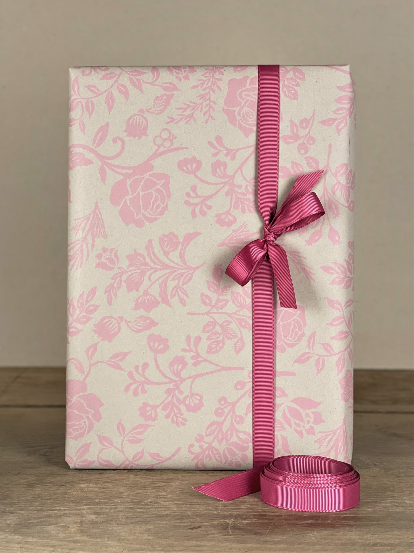 Geschenkpapier Floral natur/rosa