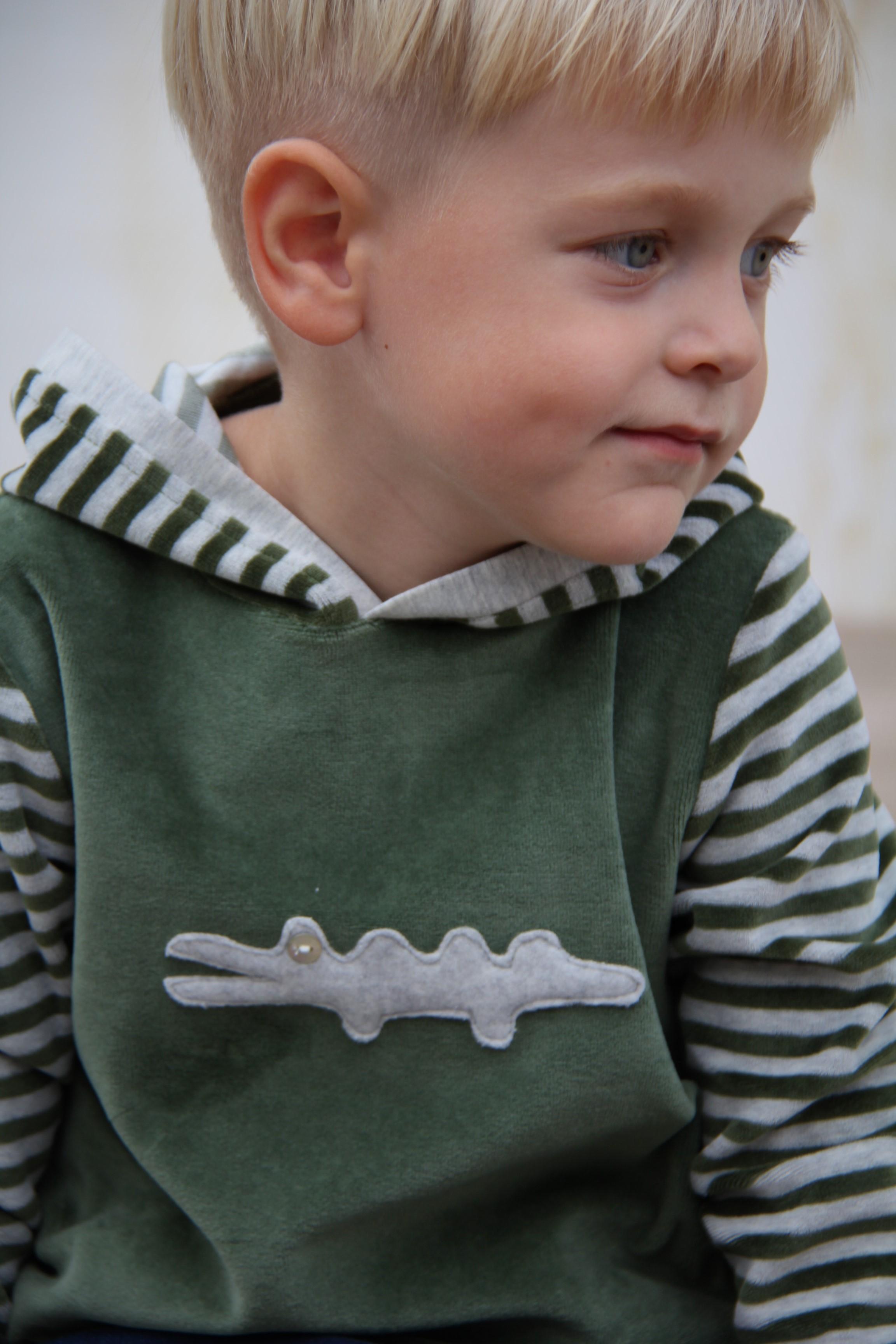 Sweater Kroko Streifen grau/grün