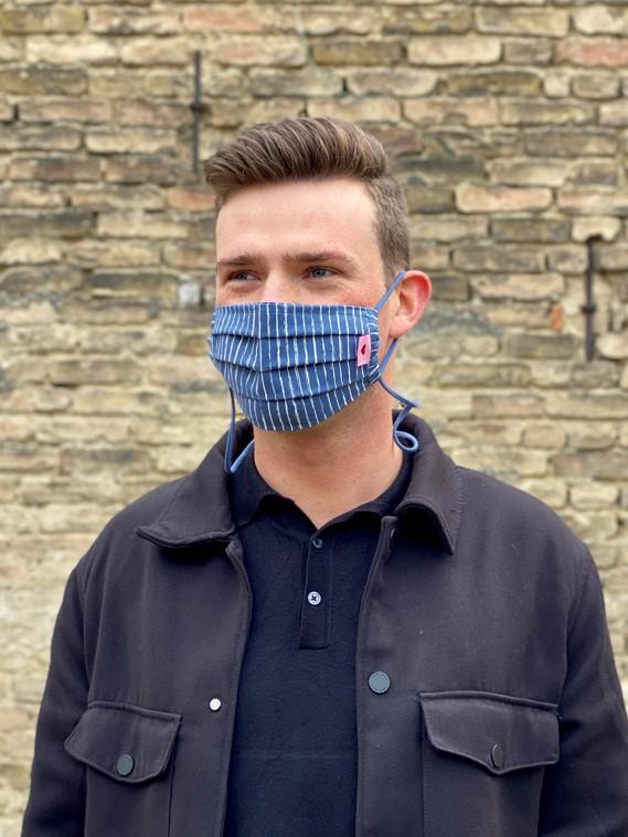 Herzilein Stoffmaske  Men dunkelblau liniert
