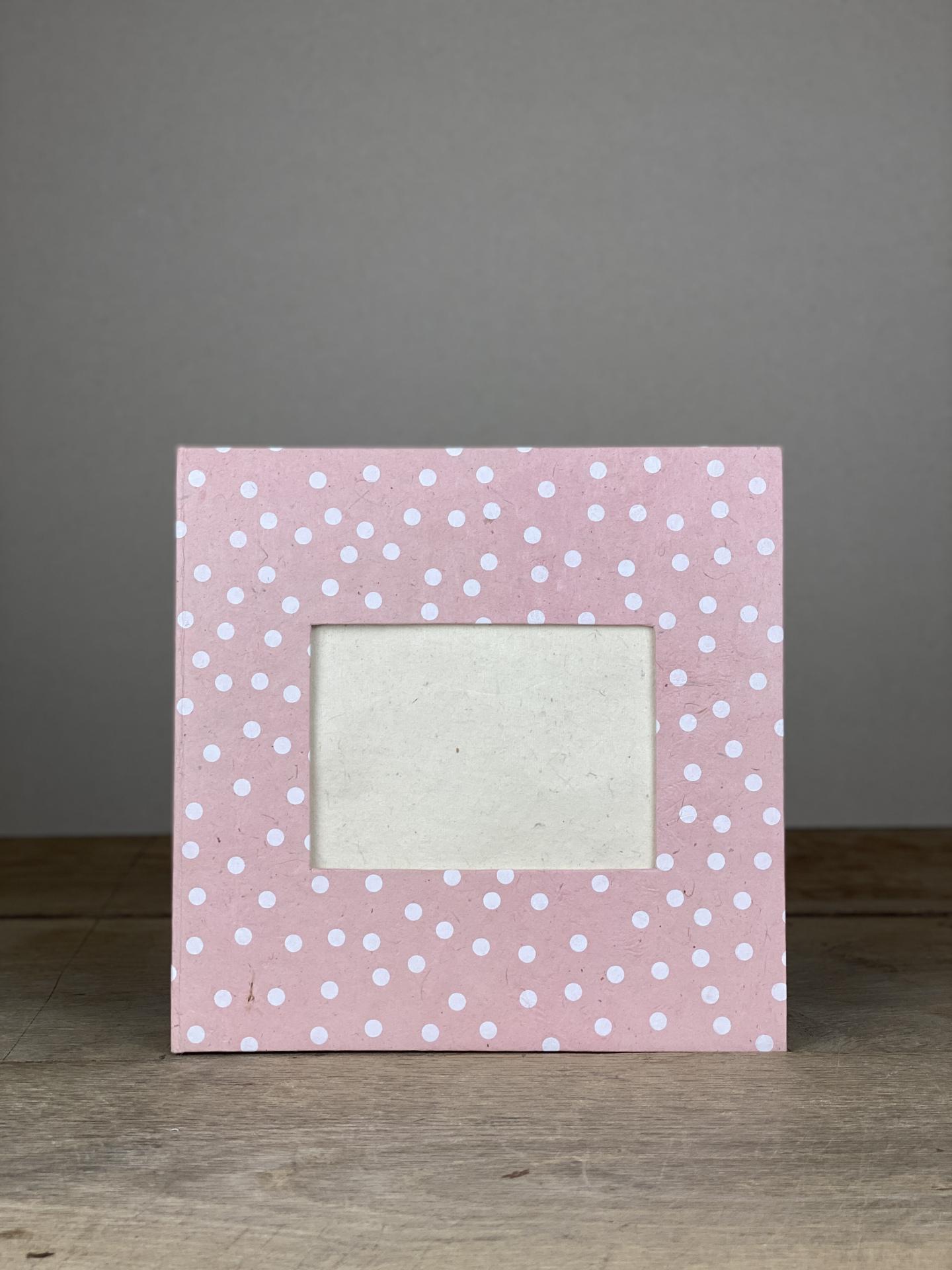 Album Hardcover Quart Dots rosa/weiß