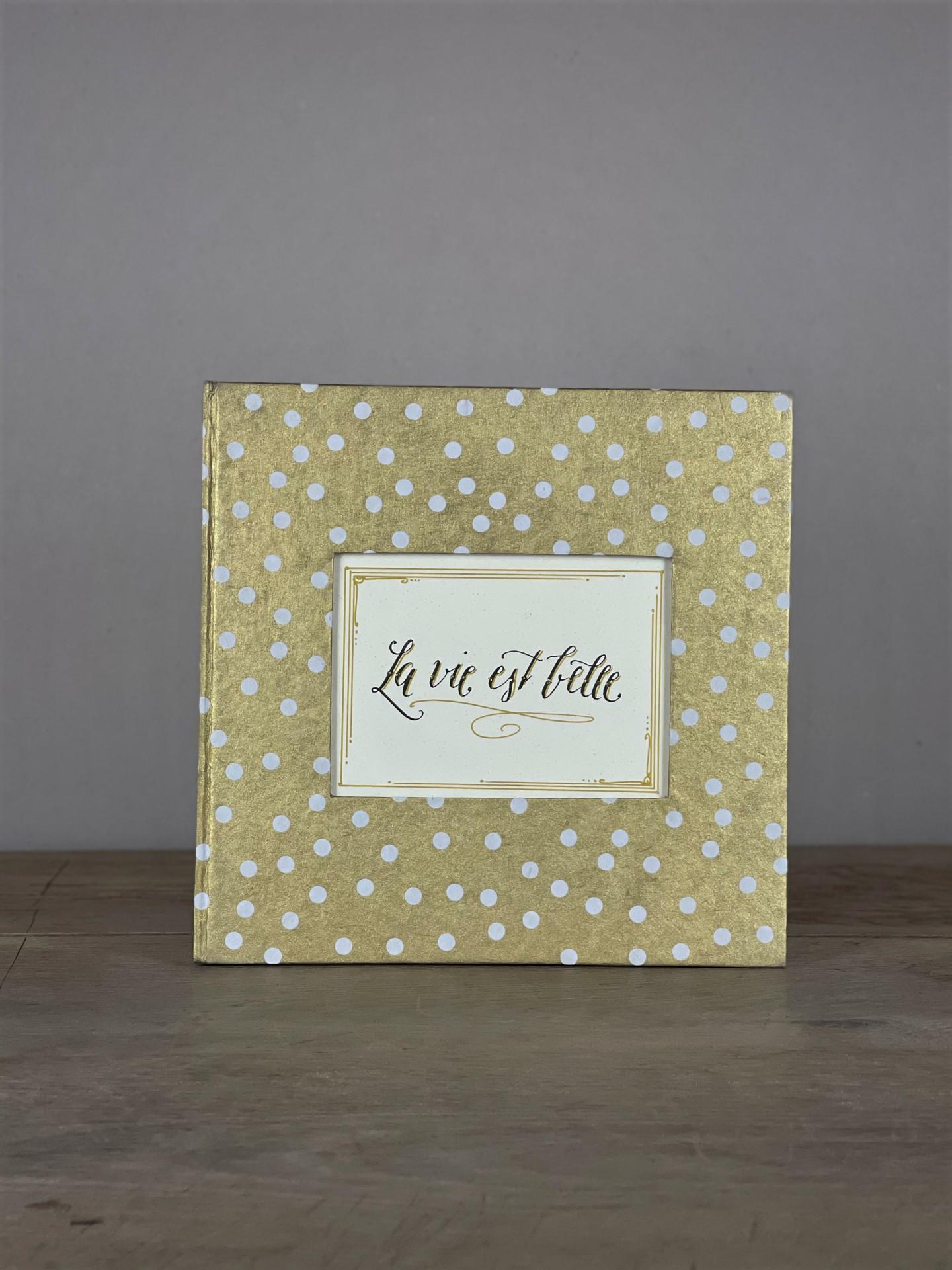Album groß Quart gold/weiß Dots La vie est belle