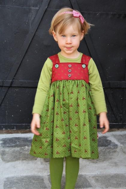 Kleid Dirndl rot/grün