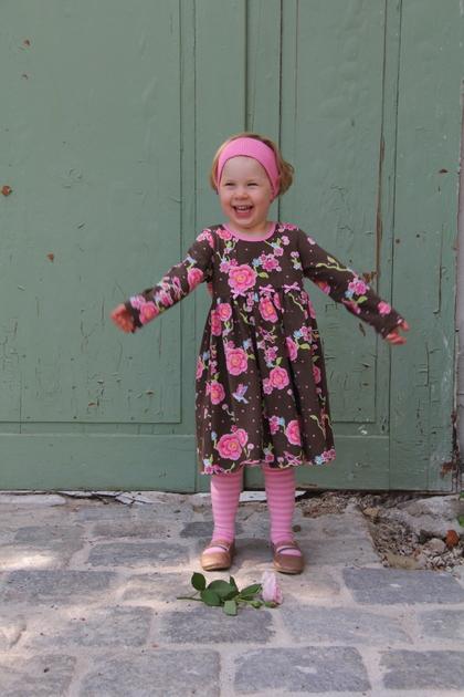 Kleid braun/rosa Fleur