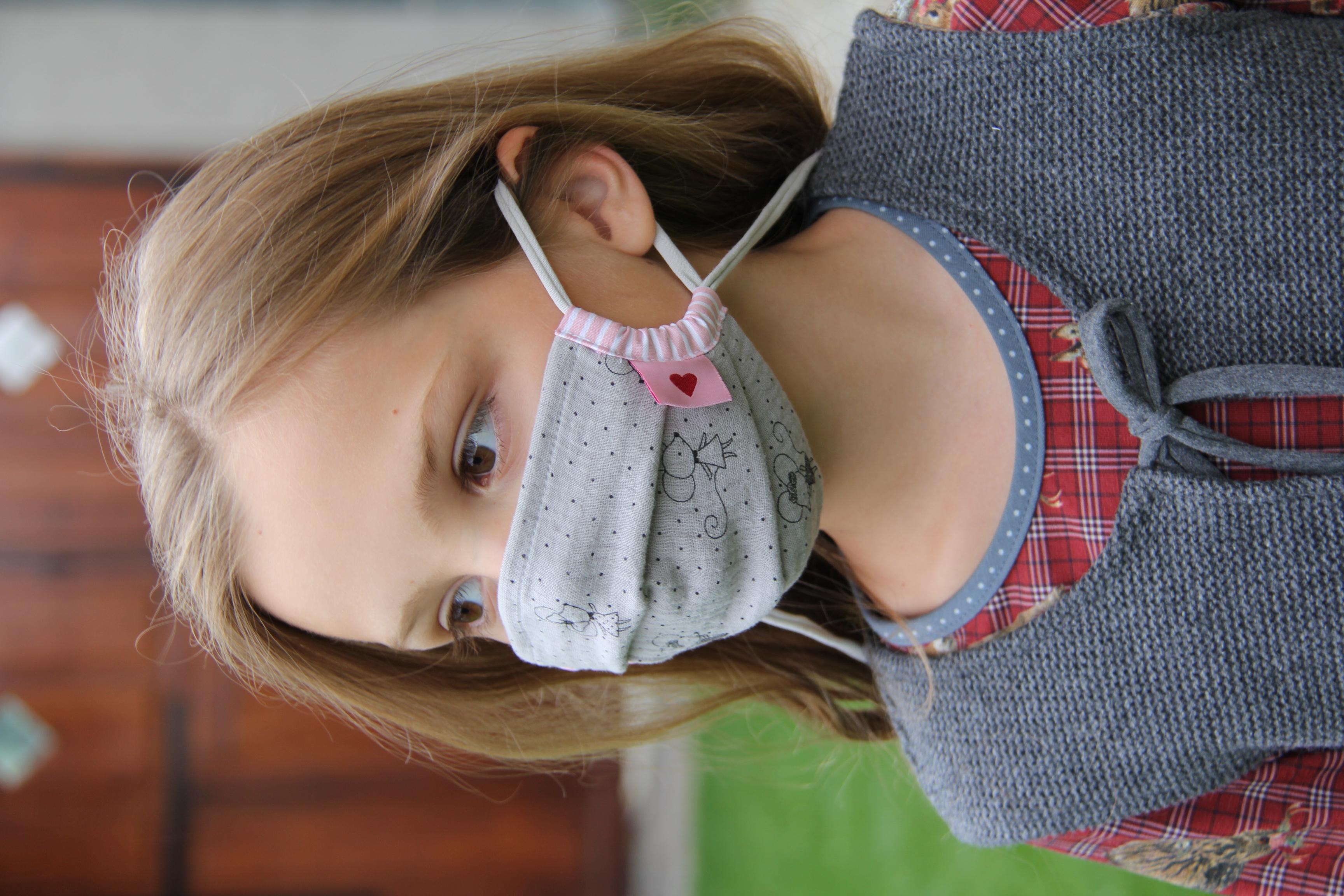 Kindermaske  Maus  rosa/grau