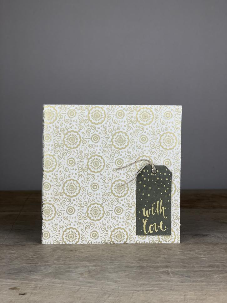 Album Softcover Tag Quart with Love gold/weiß Blumen