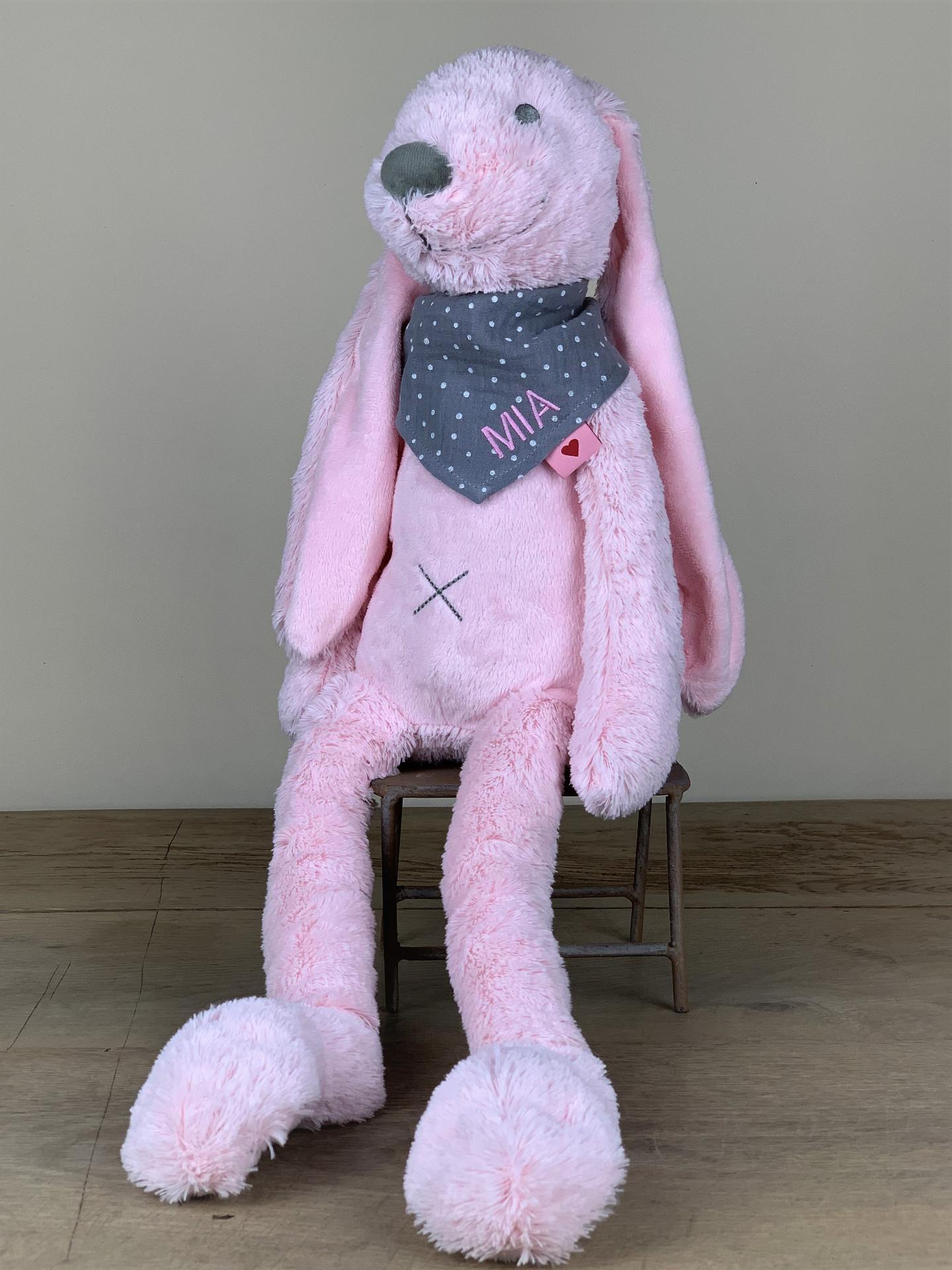 Kuschelhase XL mit Tuch flauschig rosa/grau tupf No. 18