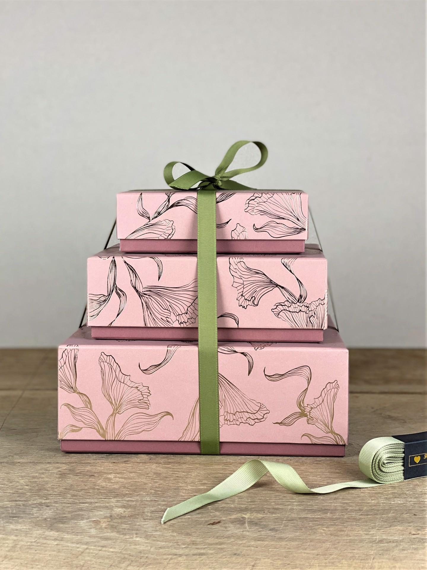 Geschenkbox rosa floral