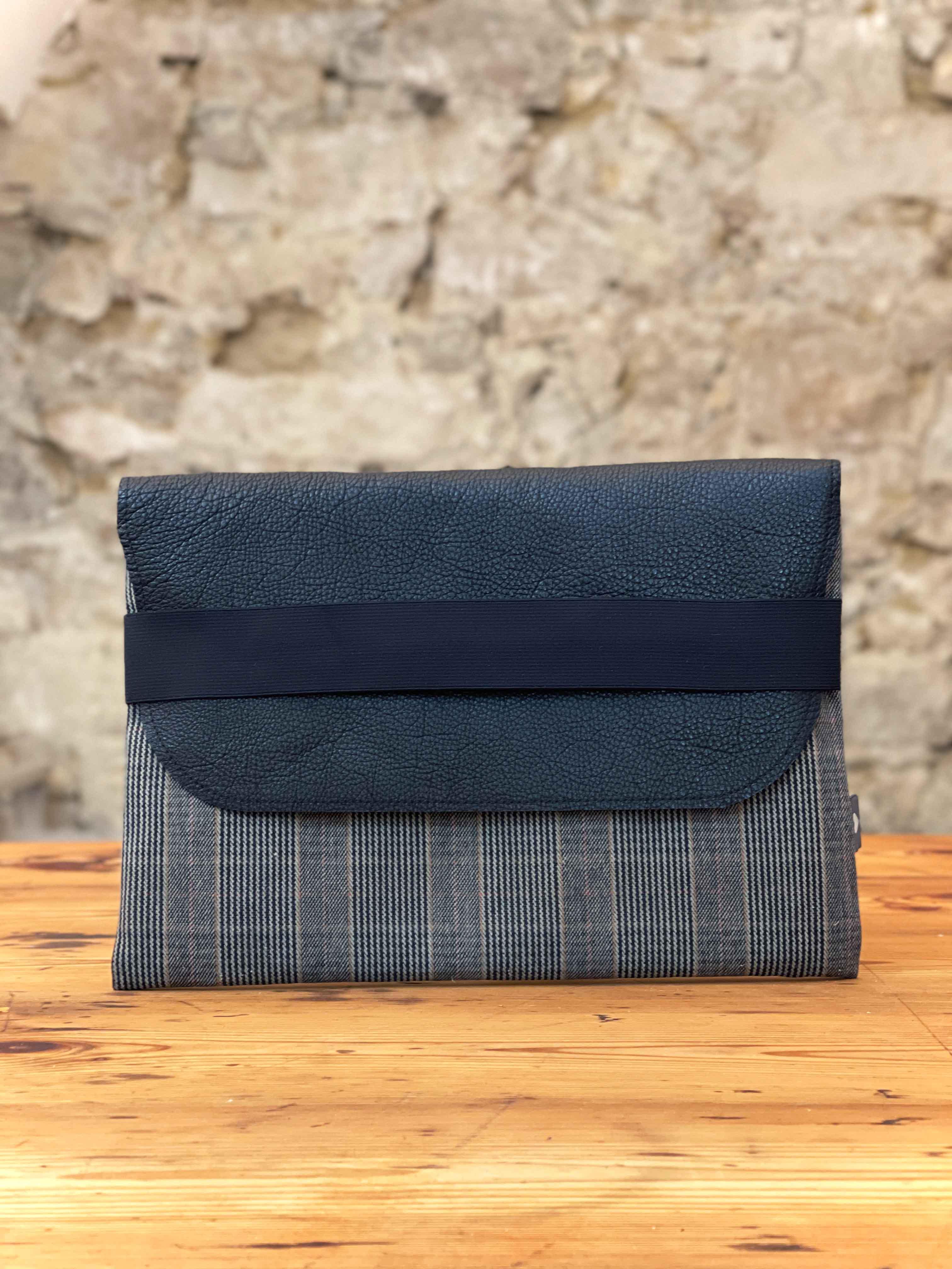 Laptoptasche Leder mit Stoff schwarz/grau
