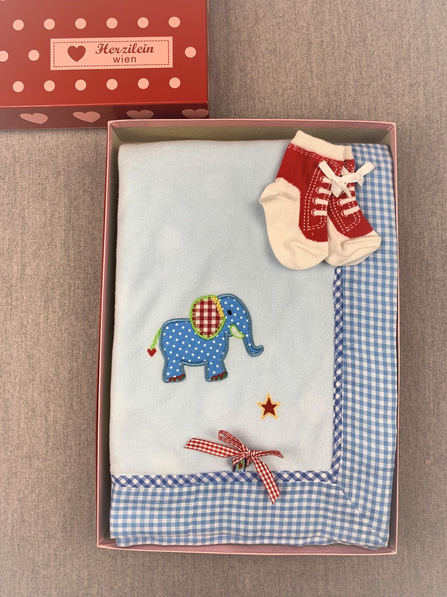Geschenkbox No. 07 blau/grün Elefant