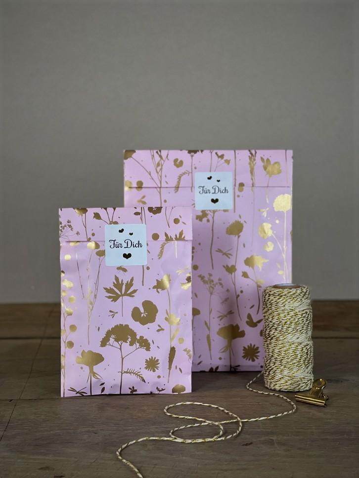 Geschenktüten flach Set/10Stk. rose/gold Blüten