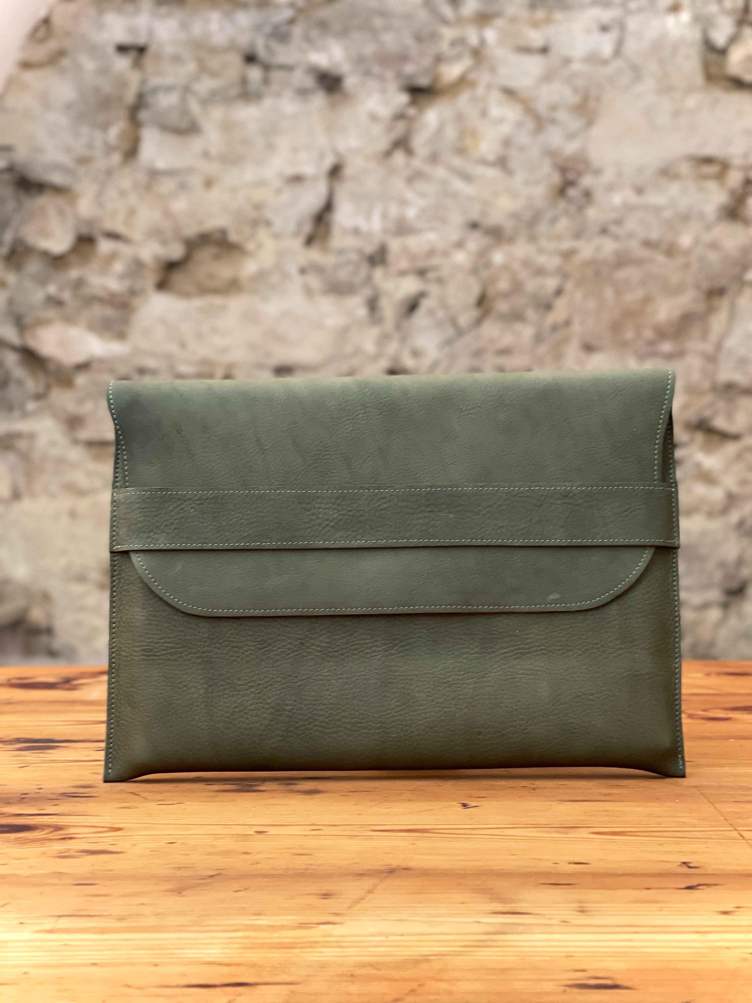 Laptoptasche Leder olive