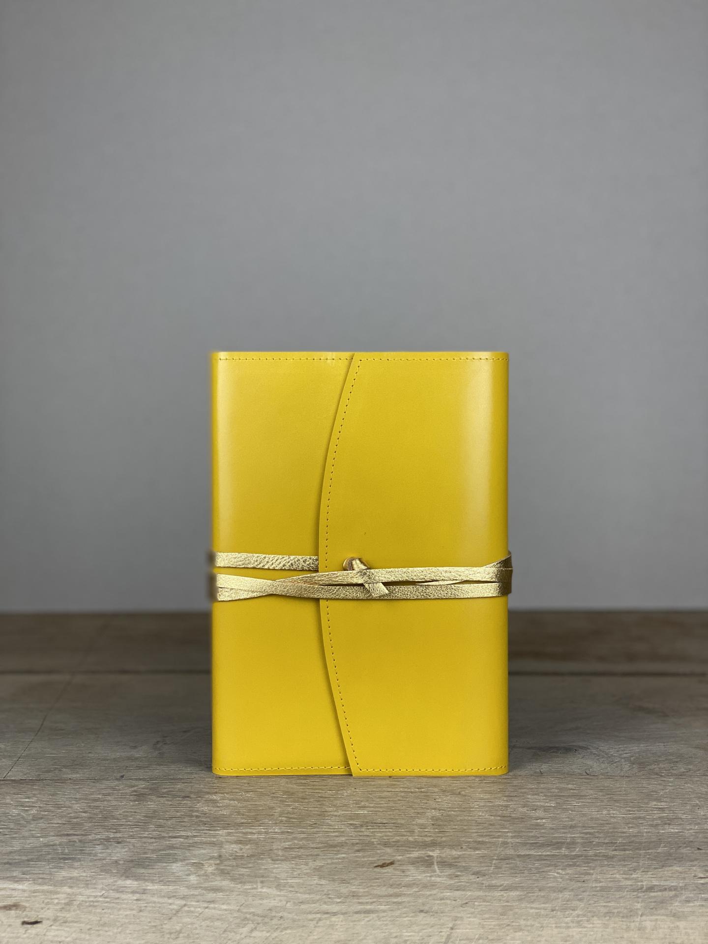Notizbuch Leder gelb/gold