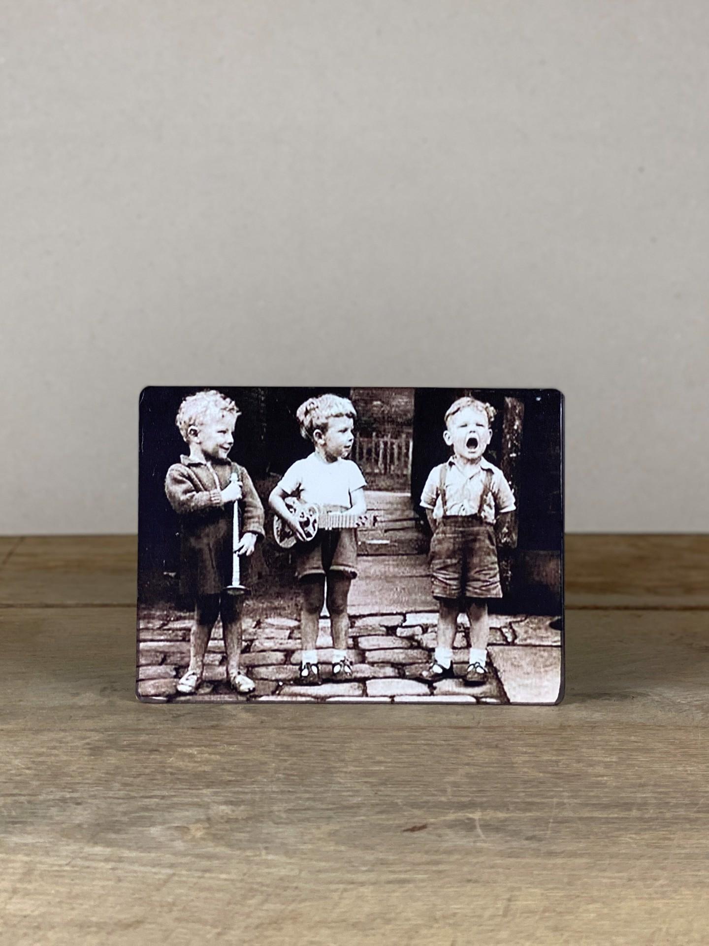 Vintage Holzbild Jungs