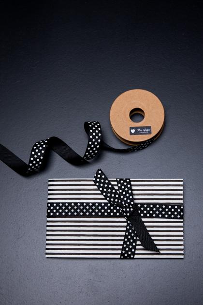 Geschenkband 5m Dots schwarz/weiß
