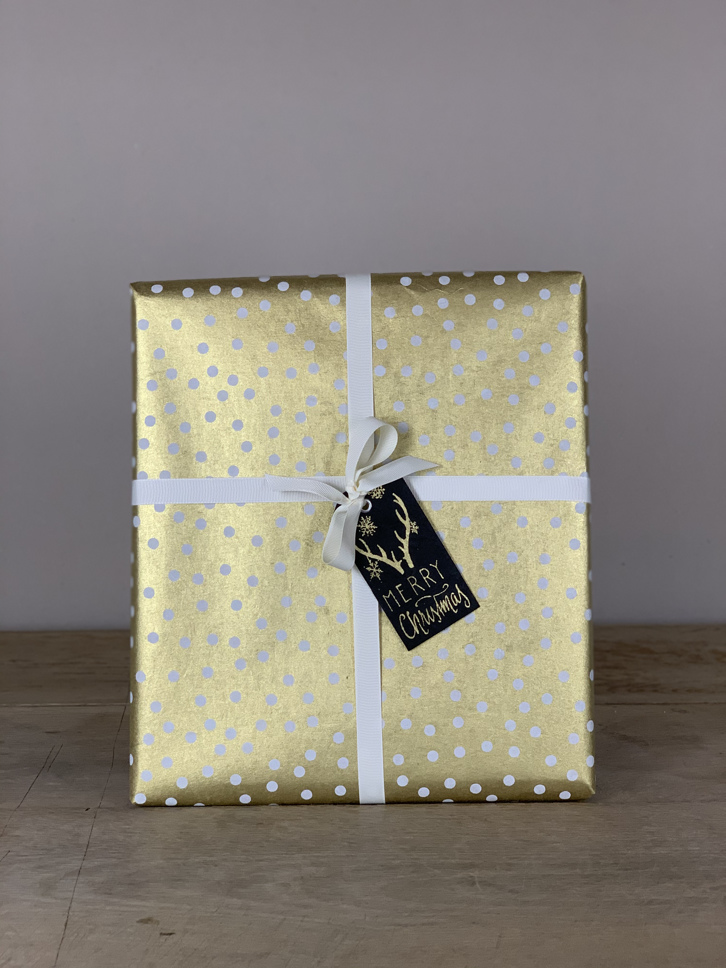 Geschenkpapier handgeschöpft gold/weiß Tupfen