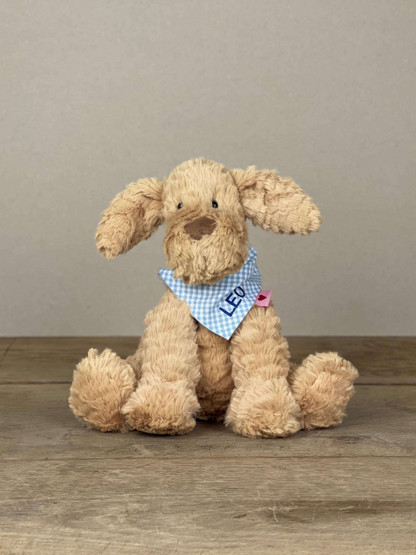 Kuschelhund No. 17 mit Tuch blau kariert