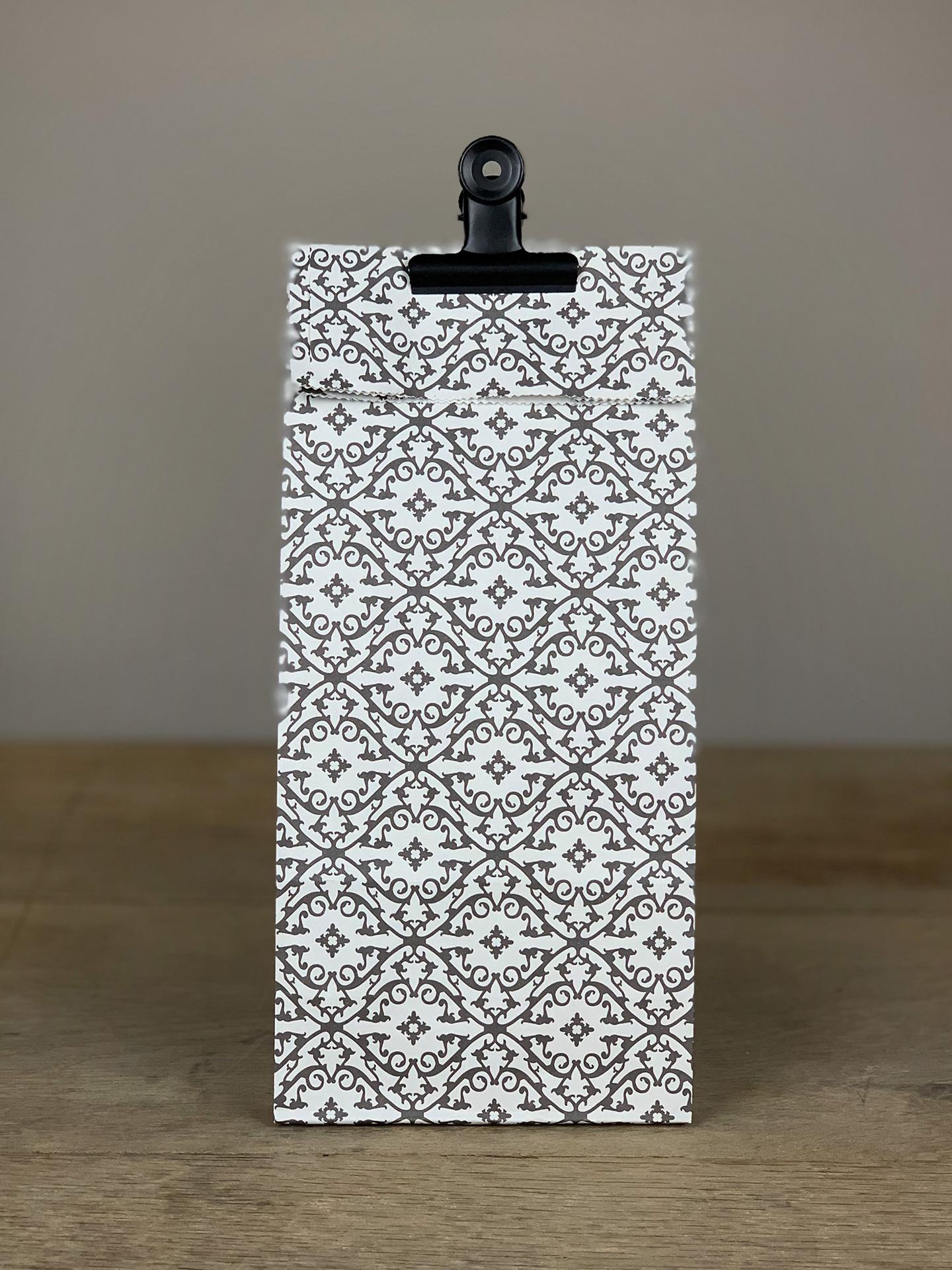 Geschenktüte Boden Set/10Stk. Ornamente weiß/schwarz