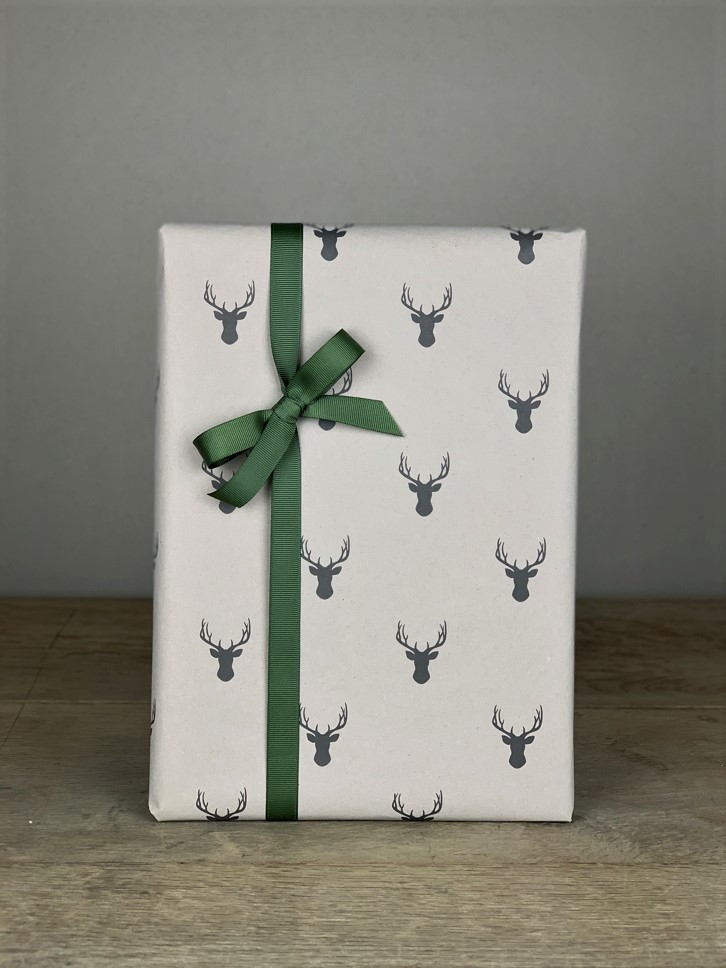 Geschenkpapier Hirsch grau