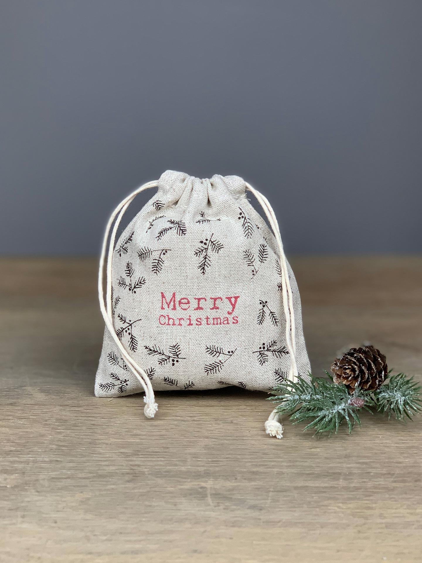 Geschenkbeutel Merry Christmas Zweige
