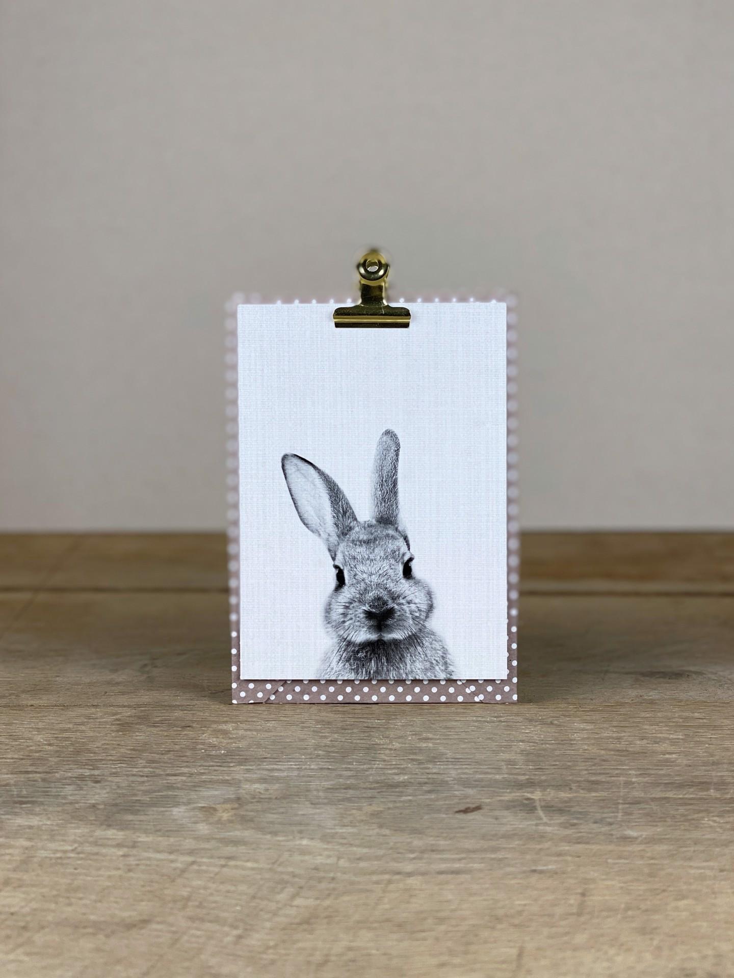 Postkarte Osterhase schwarz/weiß