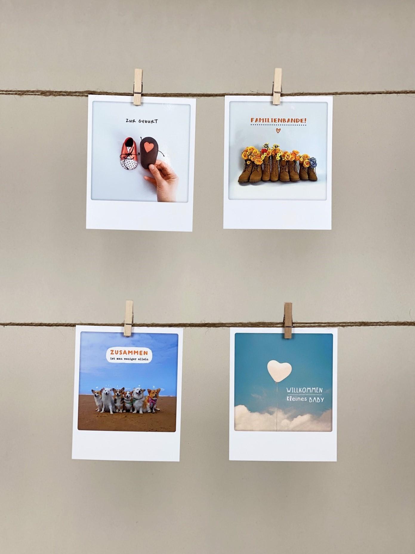 Polaroid-Karten-Set Geburt