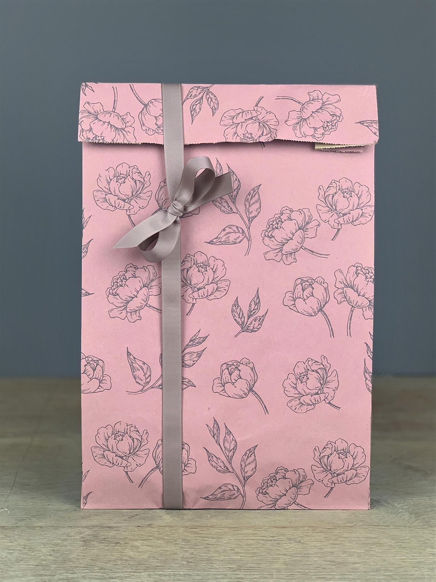 Geschenktüte Seitenfalter Blüten rosa