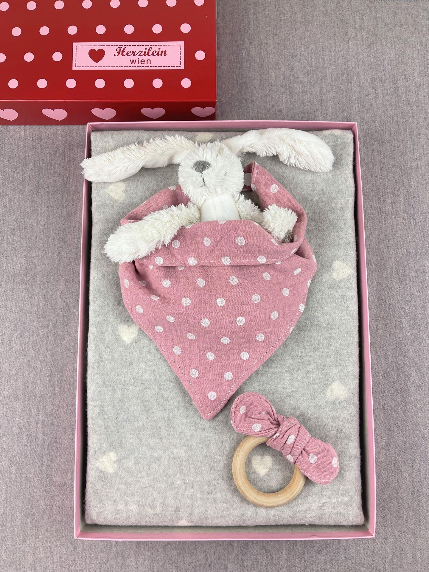 Geschenkbox Set No. 35 Herzen rosa/grau dots