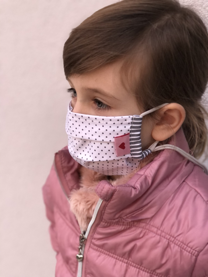 Kindermaske/Jugendliche Dots weiß/grau