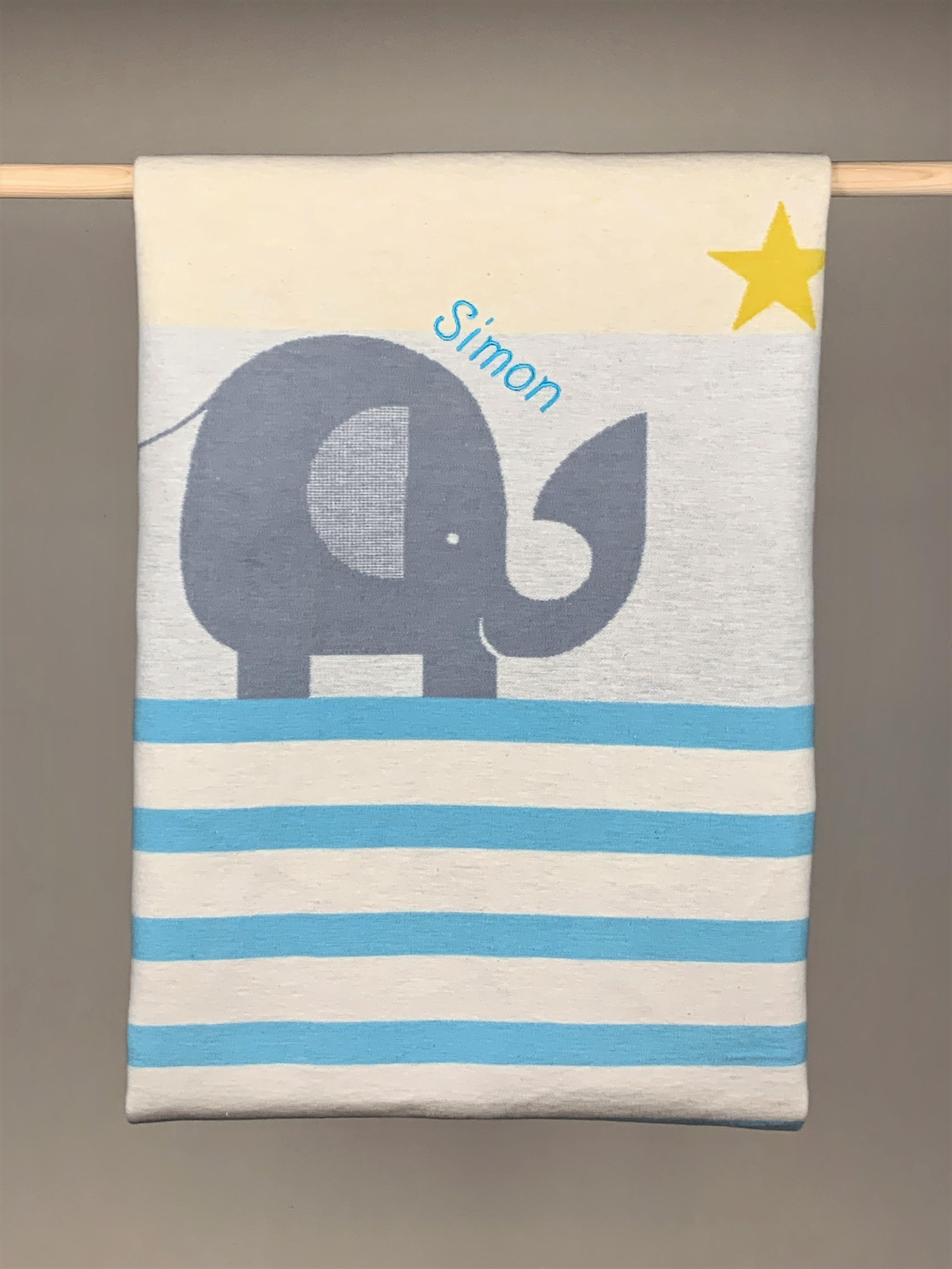 Babydecke  No. 38 Elefant türkis weiß