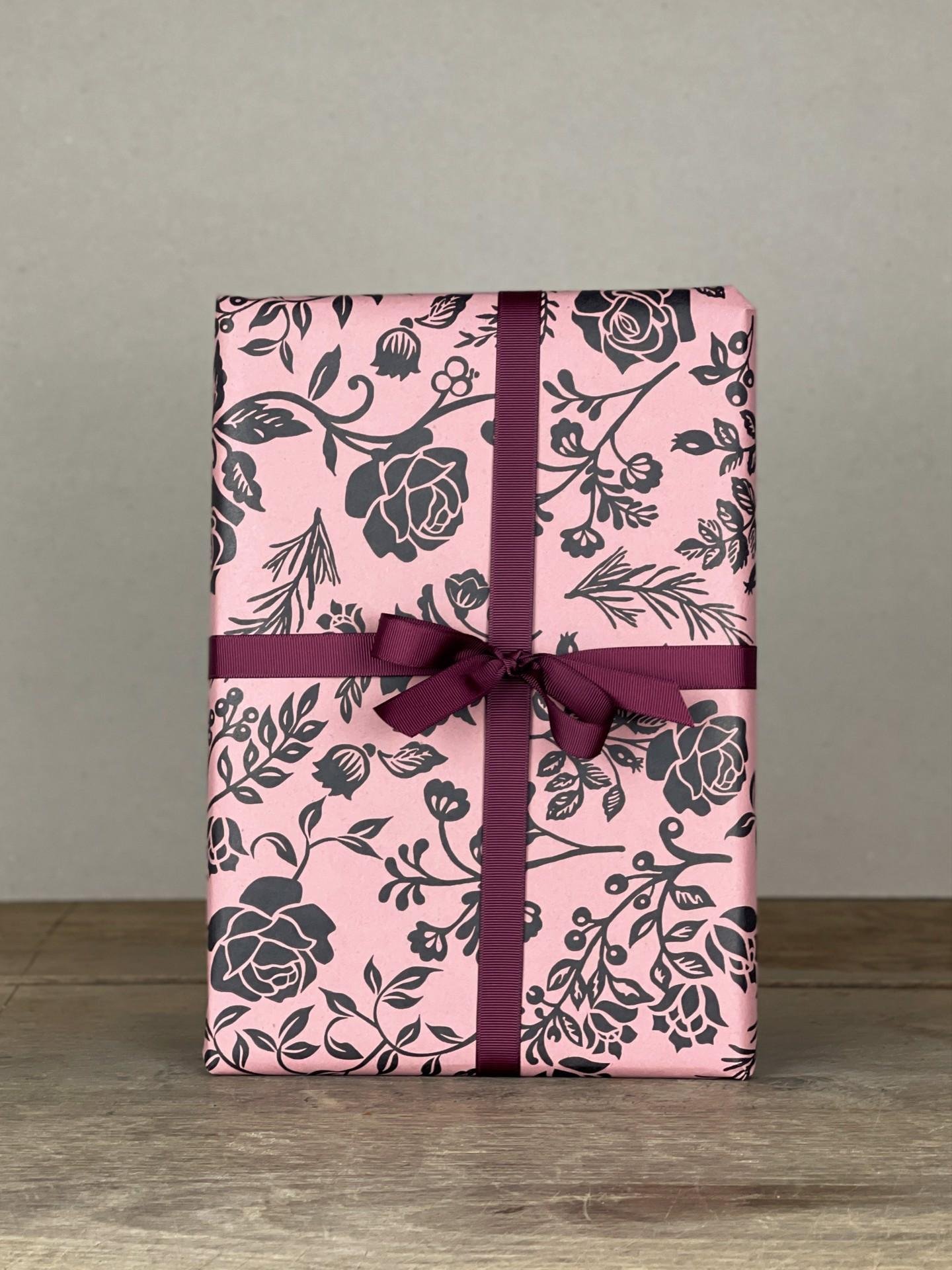 Geschenkpapier Rosen groß rosa/dunkelgrau
