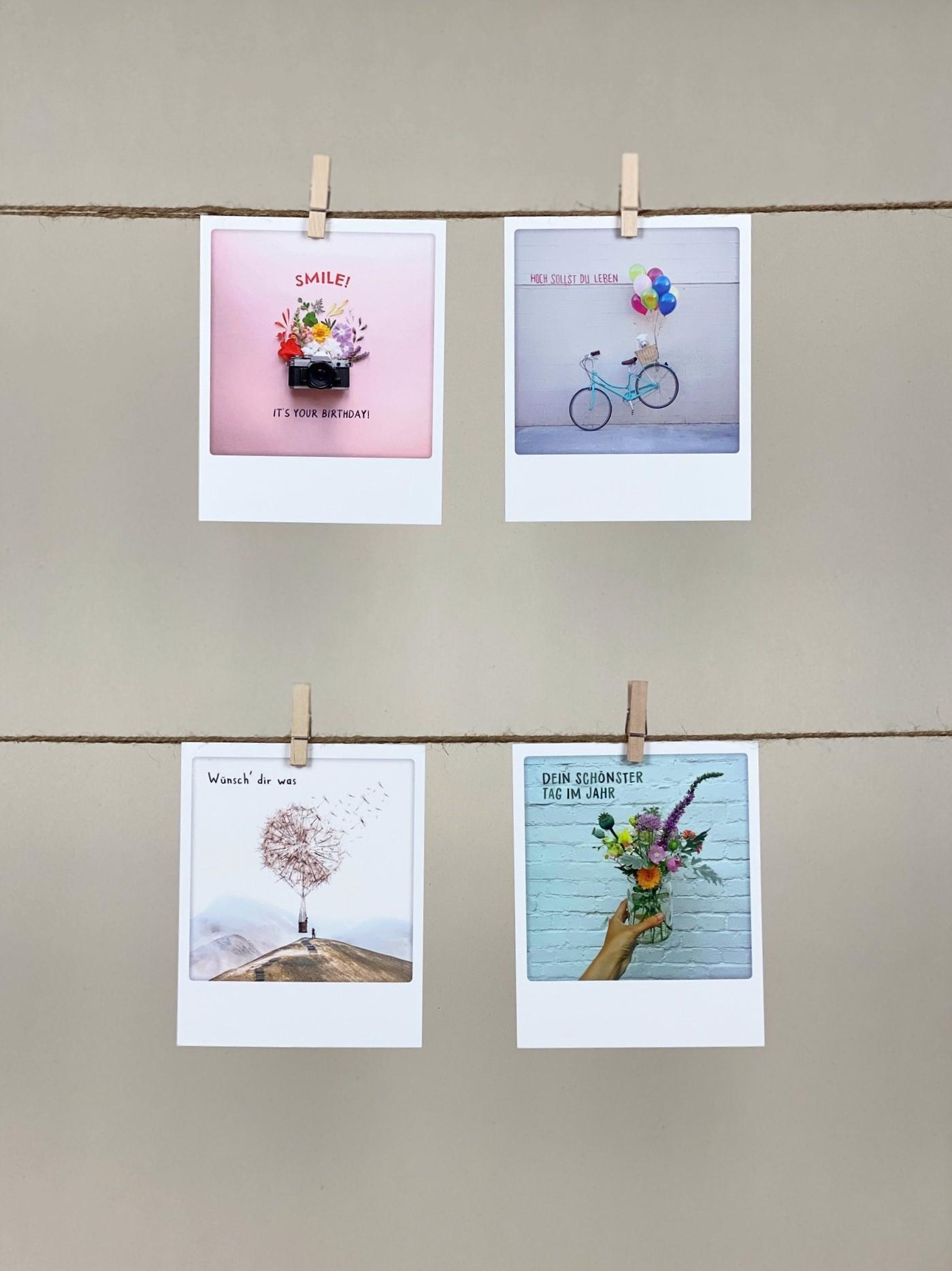 Polaroid-Karten-Set Geburtstag  Sprüche