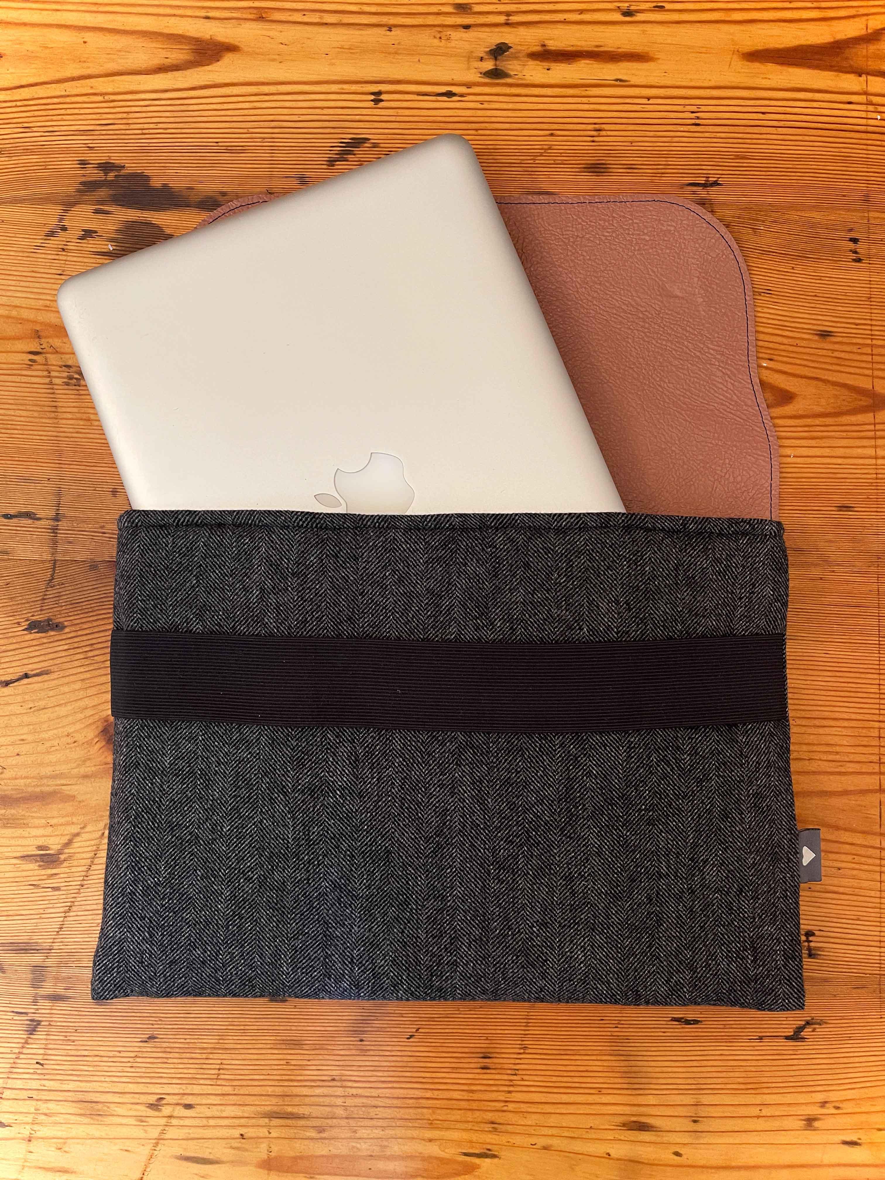 Laptoptasche Leder mit Stoff schwarz