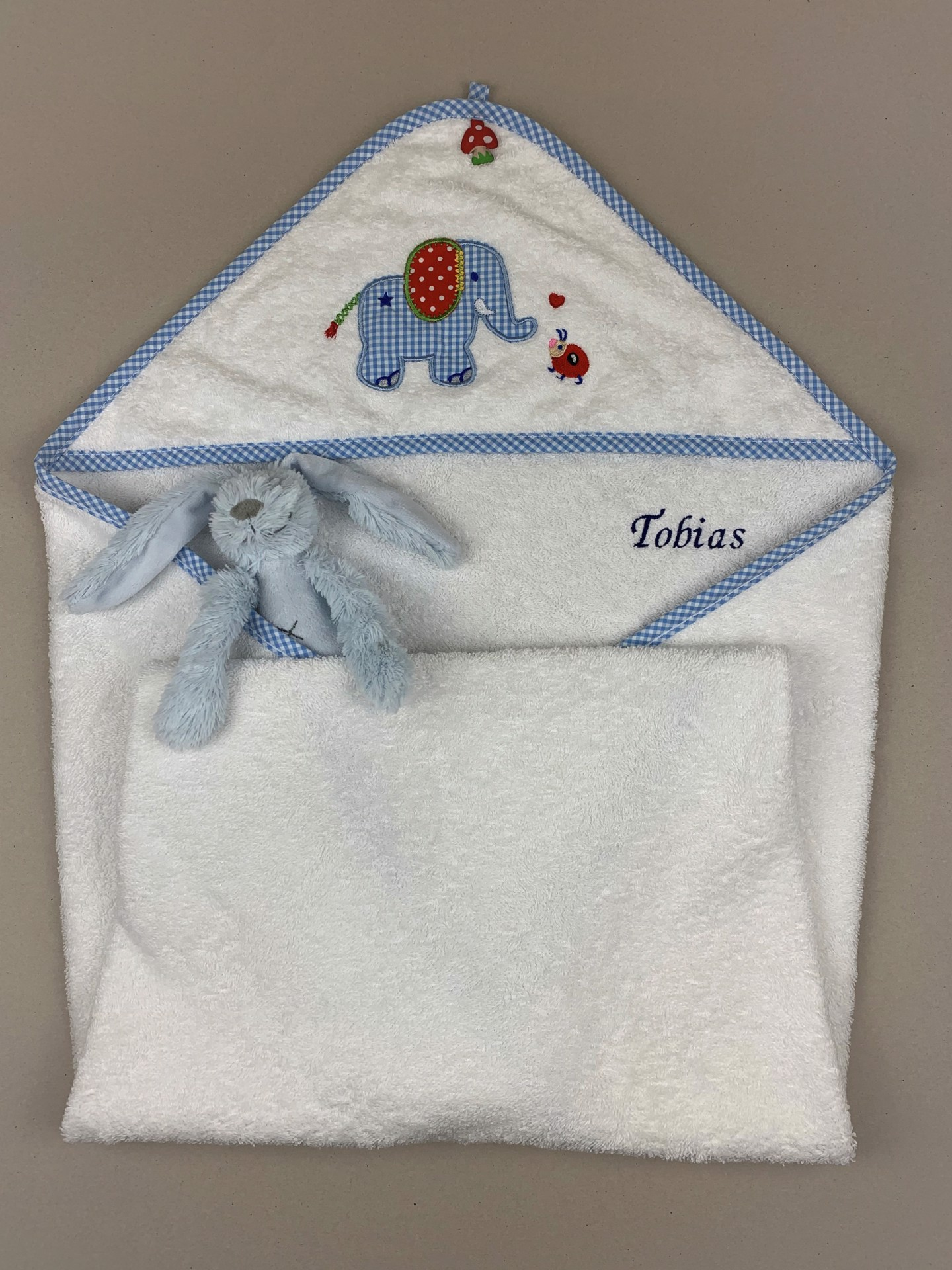 Babybadetuch No. 3 Elefant blau