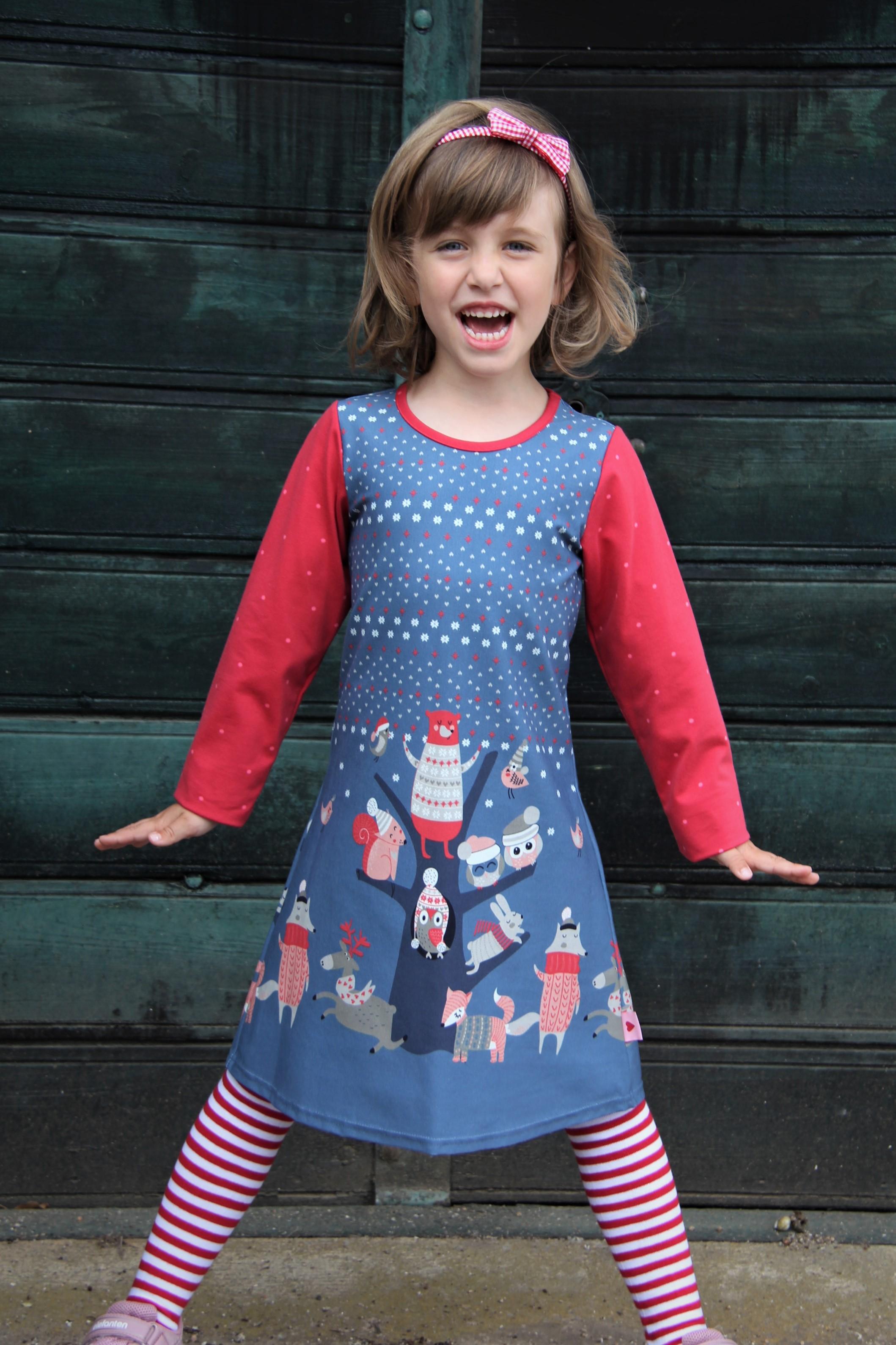 Kleid  rot/blau Winter Wonderland
