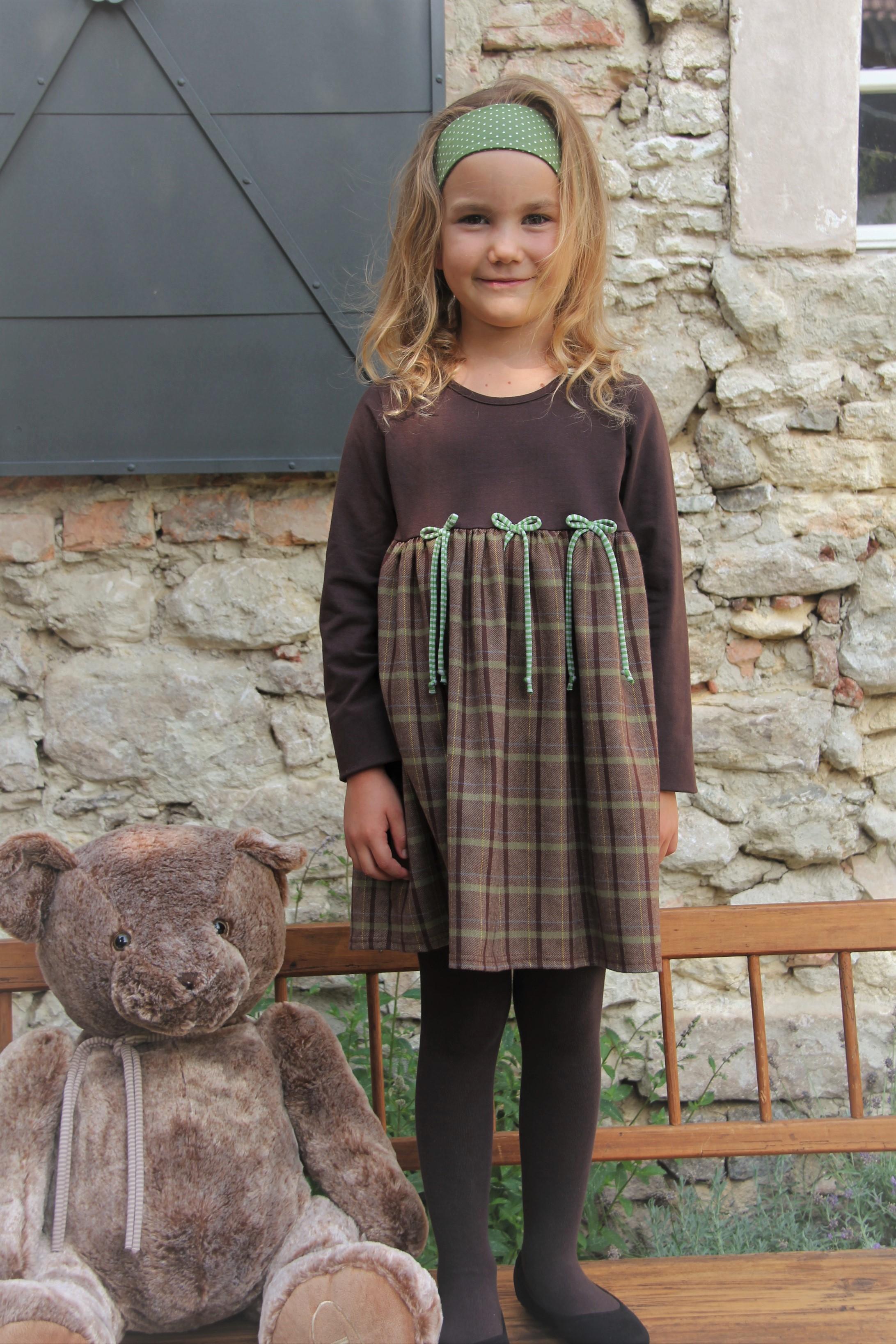 Herbstkleid Karo grün/braun