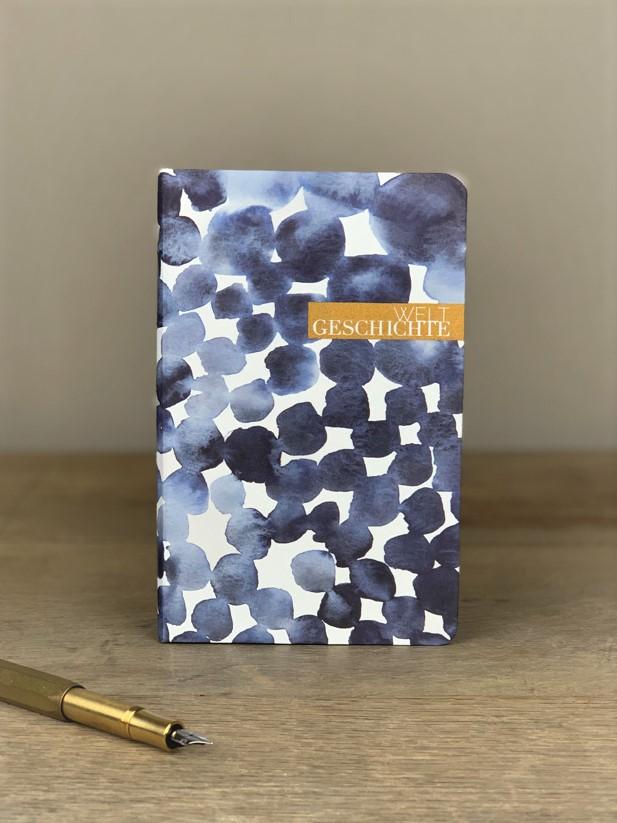 Notizbuch blau Geschichte