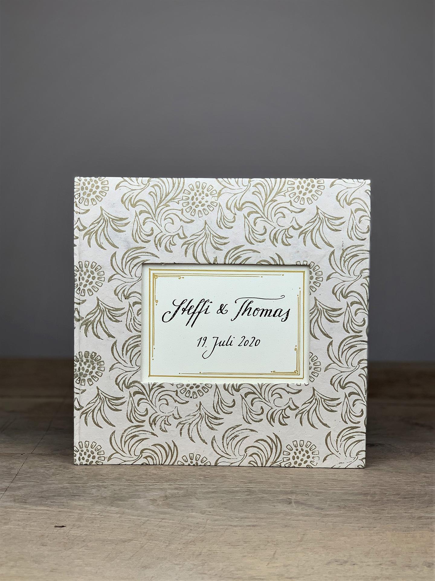 Album groß Quart gold/weiß Floral
