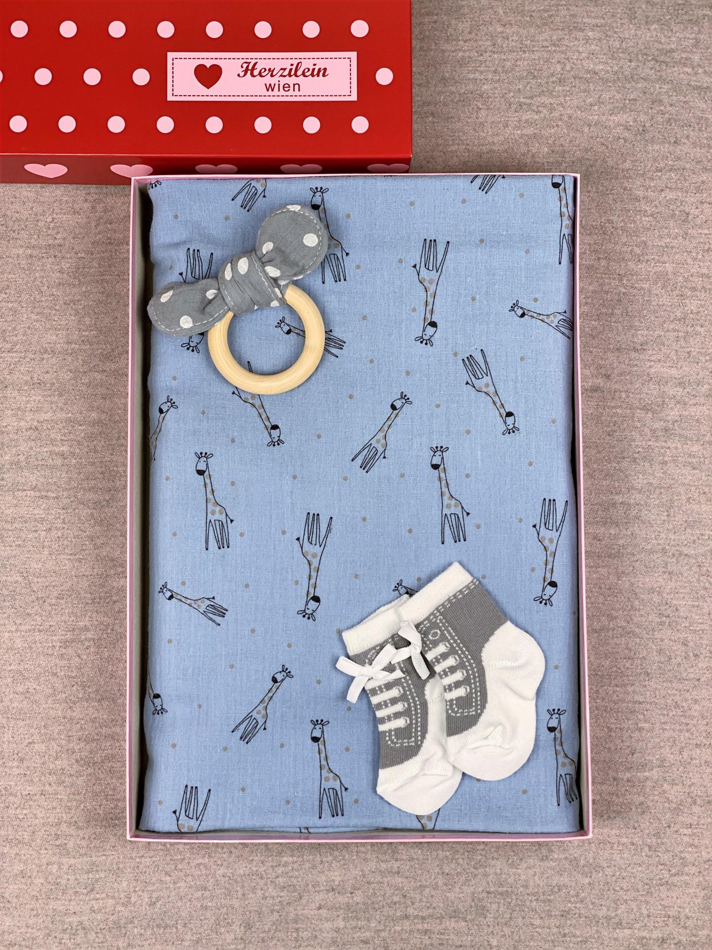 Geschenkbox Set No. 22 Giraffe blau