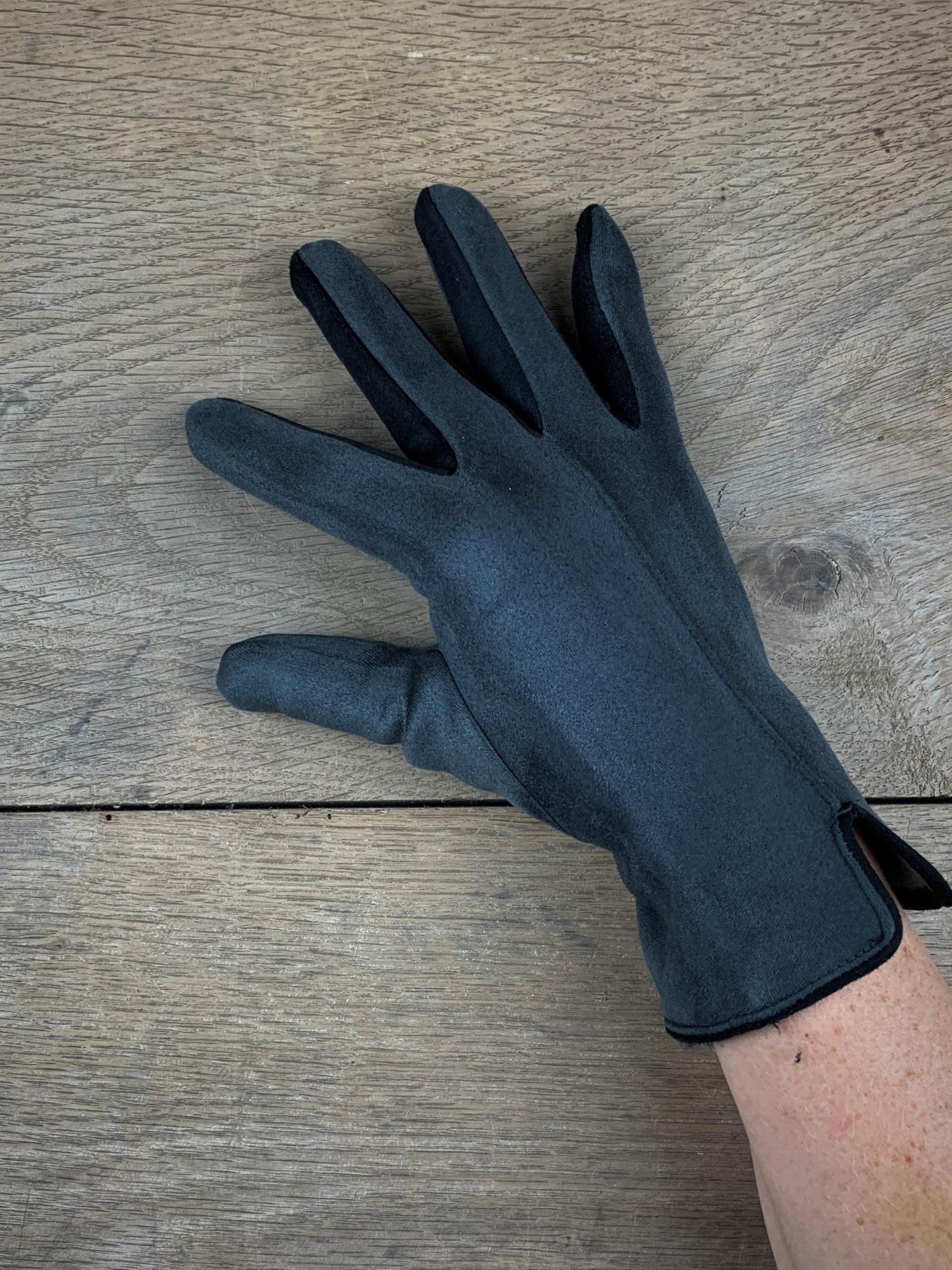 Damenhandschuhe zweifarbig grau/schwarz