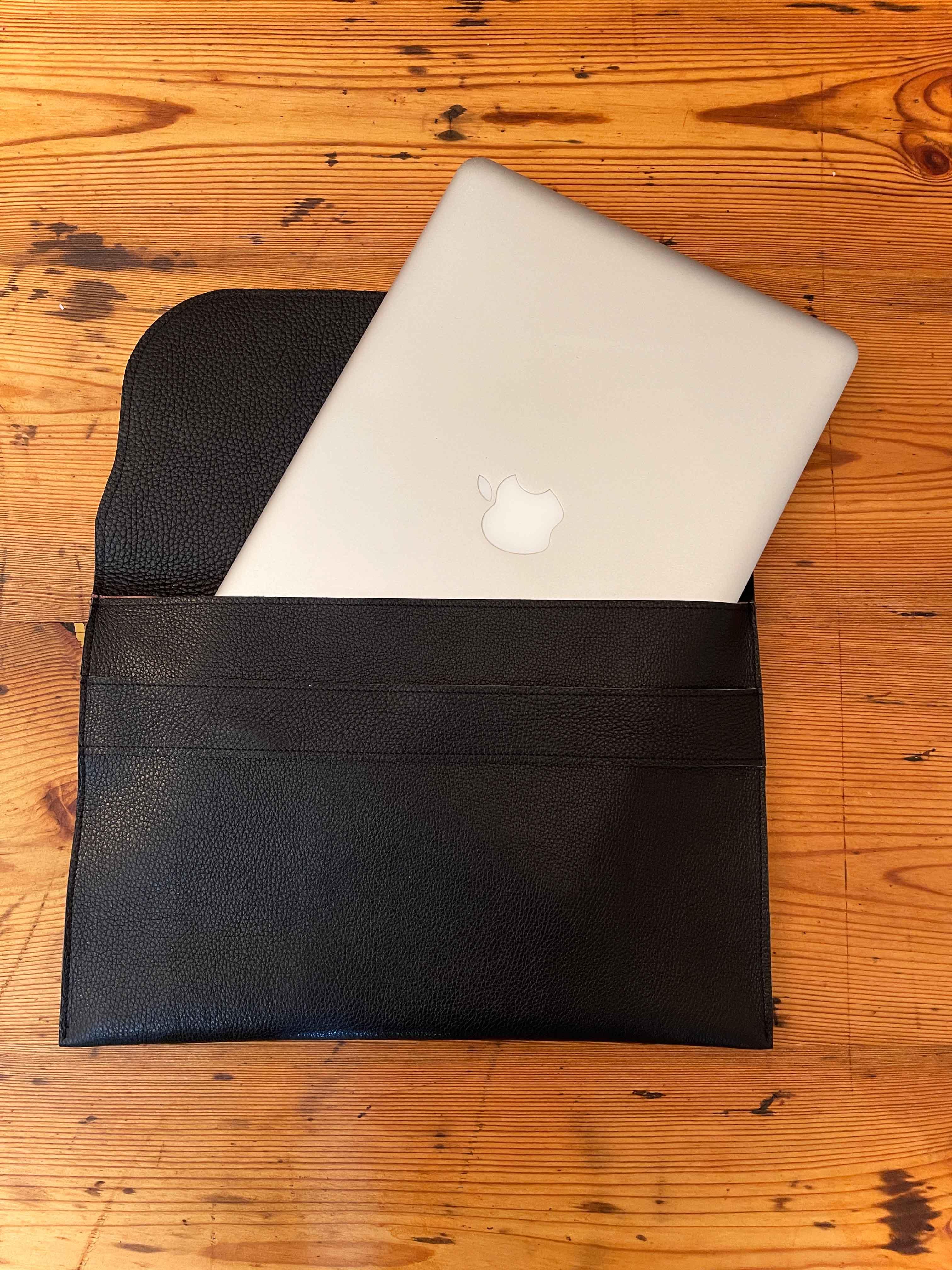 Laptoptasche Leder schwarz/Leo