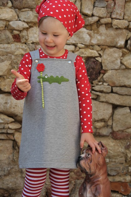Kleid Kroko grau Shirt Dots rot/weiß