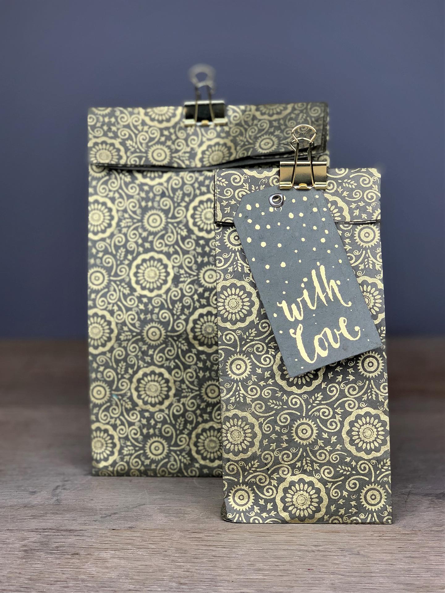 Geschenktüte Herzilein Fleur Grau/Gold