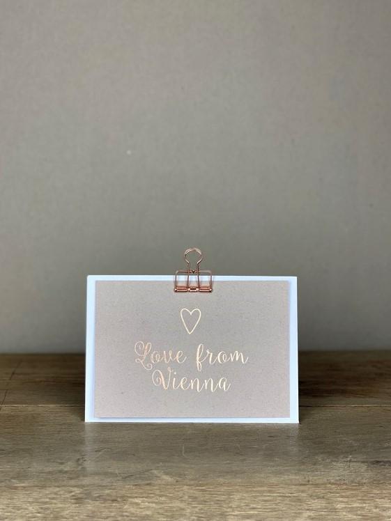 Postkarte rosé Love from Vienna