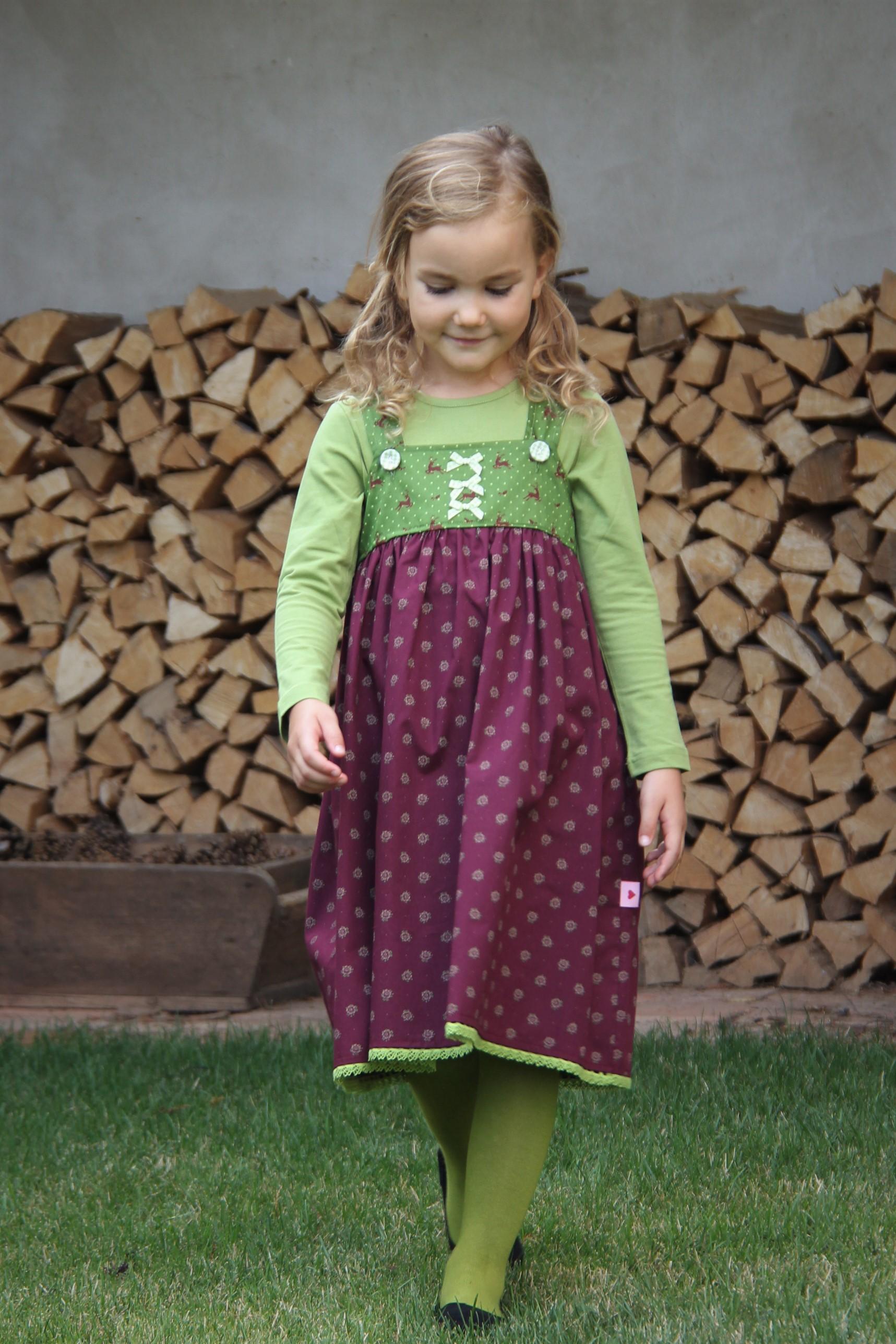 Kleid Dirndl bordeaux/grün
