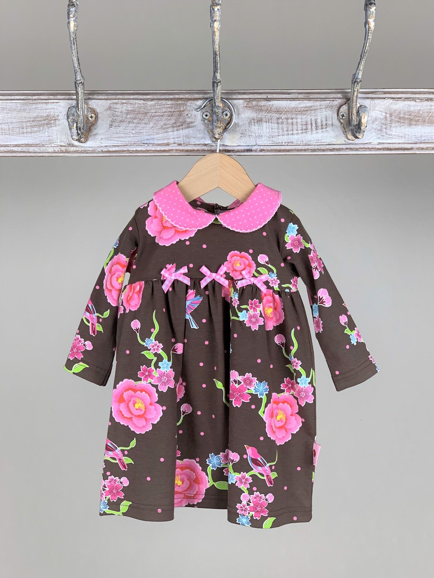 Kleid Baby Flower braun/rosa