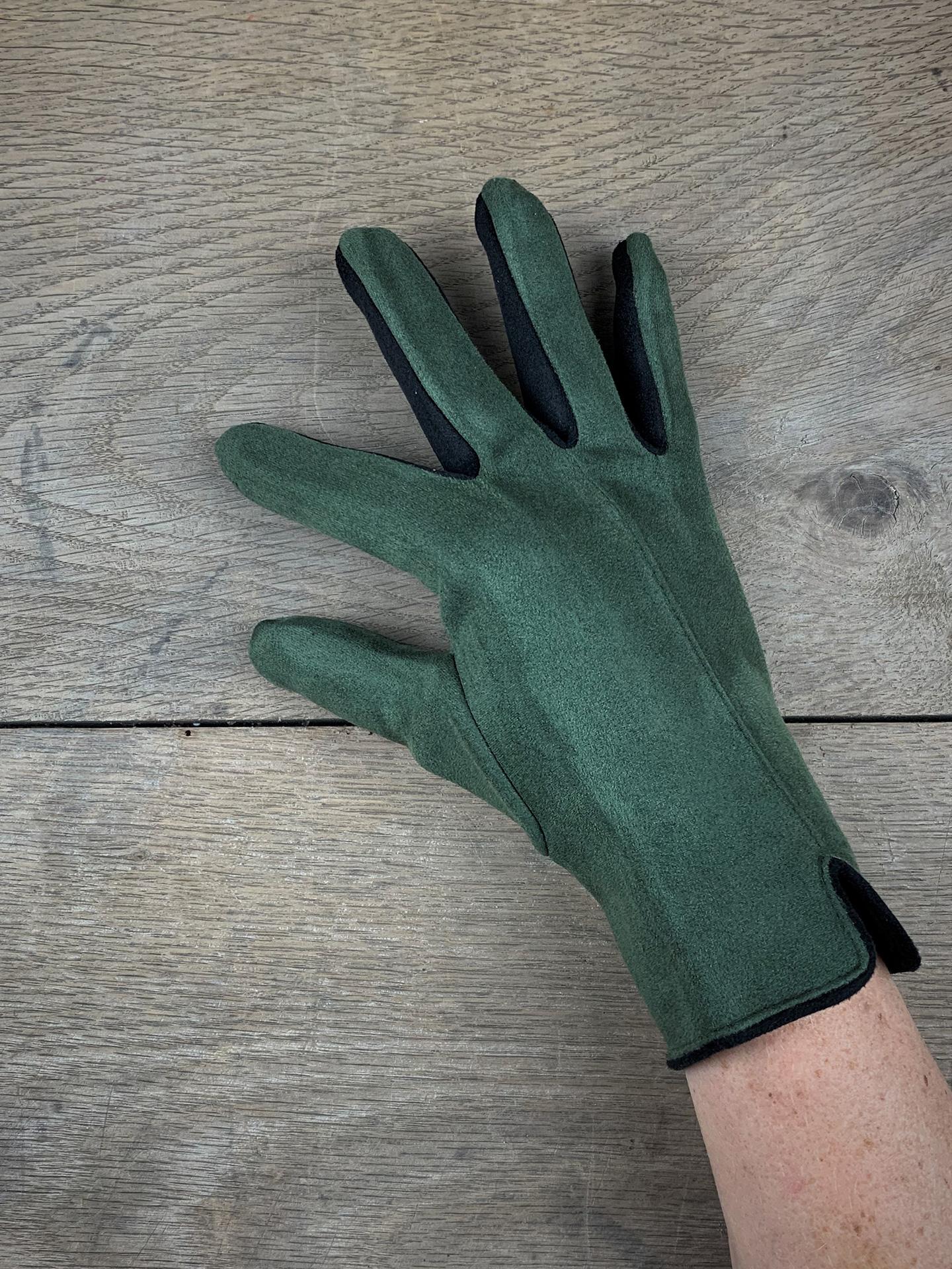 Damenhandschuhe zweifarbig oliv/schwarz