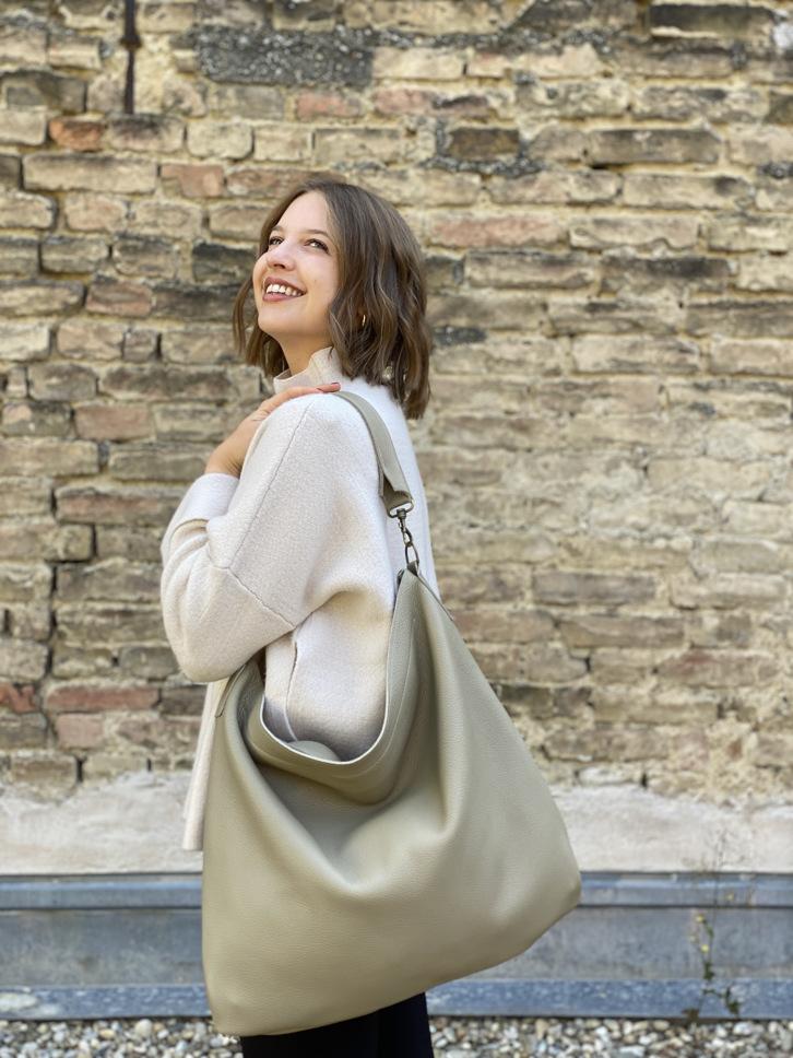 Leder Tasche everyday beige