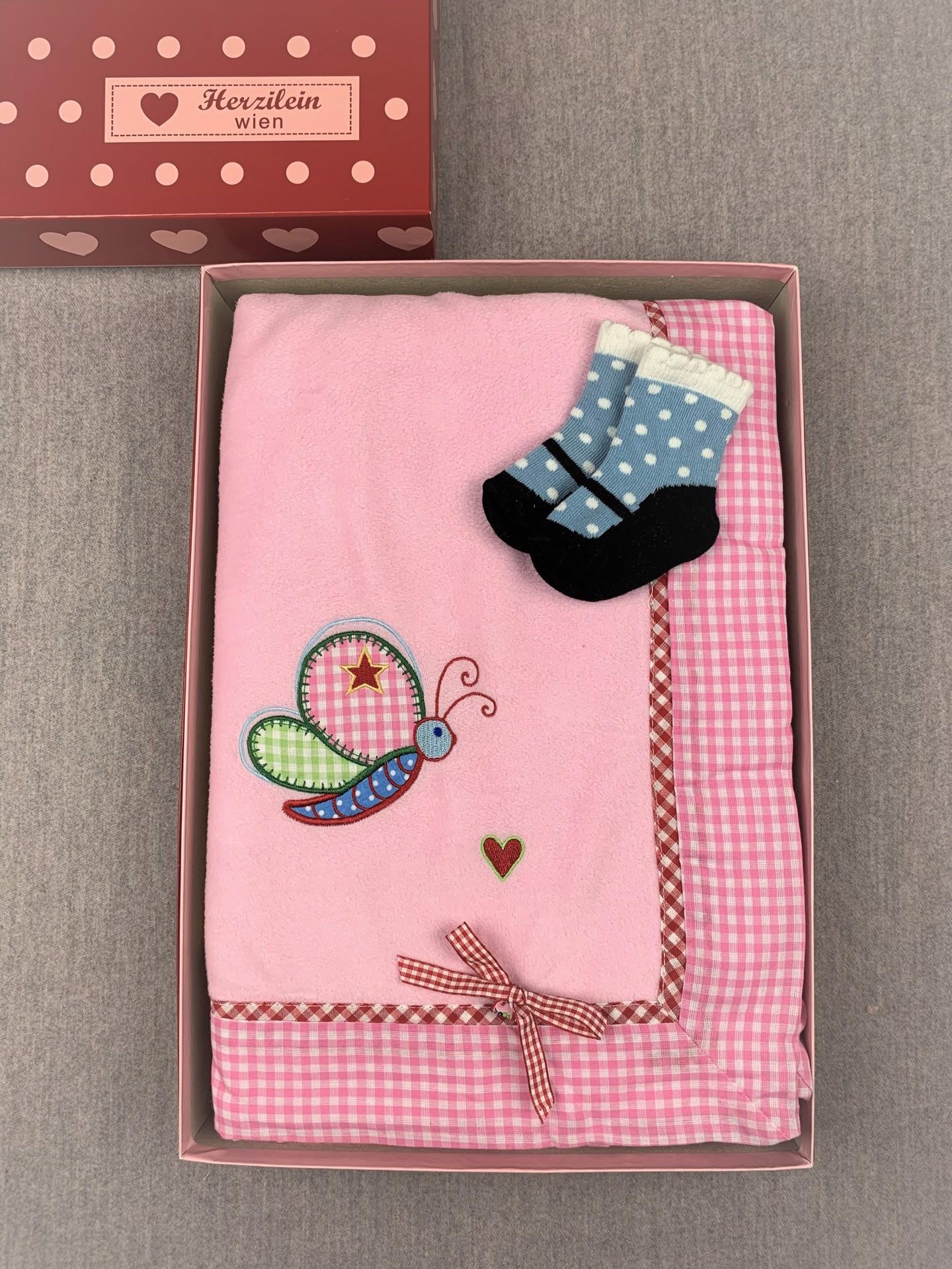 Geschenkbox No. 04 rosa/blau Schmetterling