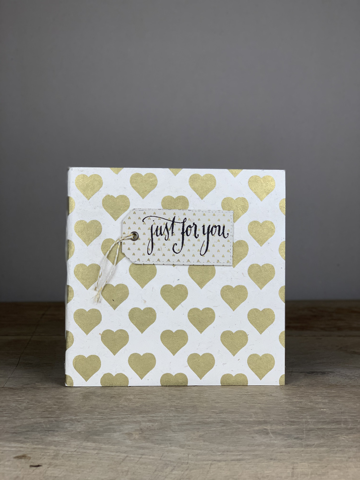 Album Softcover Tag  Quart just for you gold/weiß Herzen