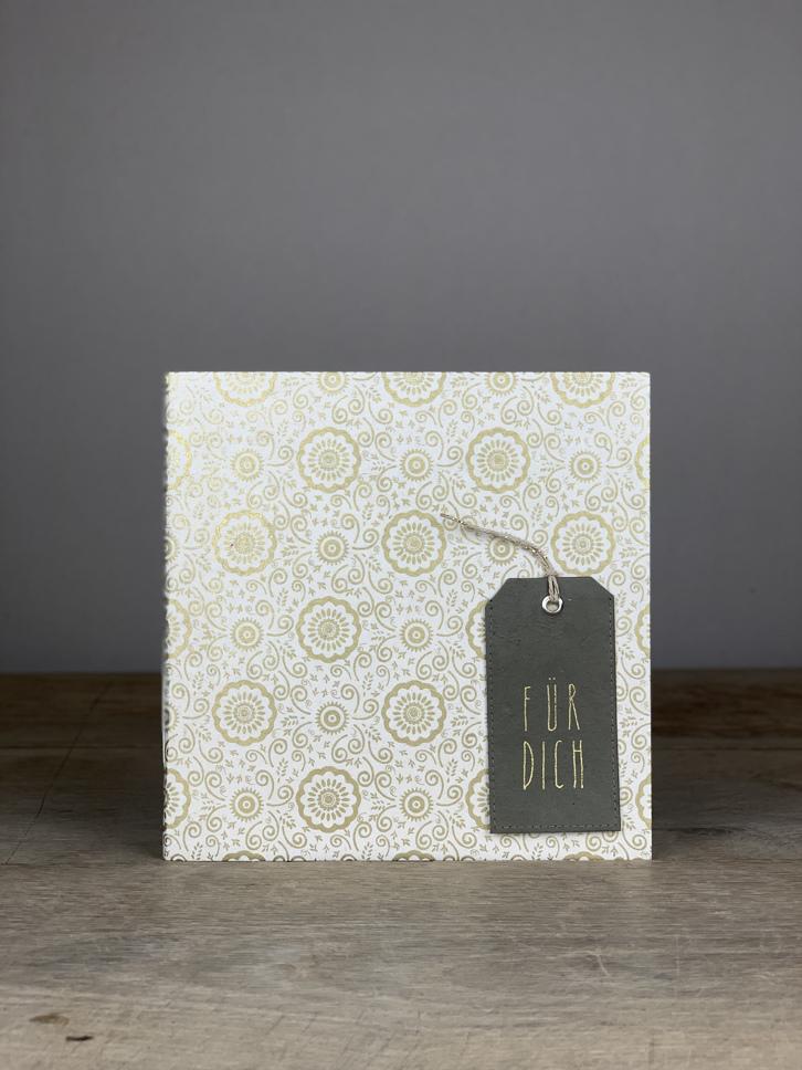 Album Softcover Tag Quart für dich gold/weiß Blumen